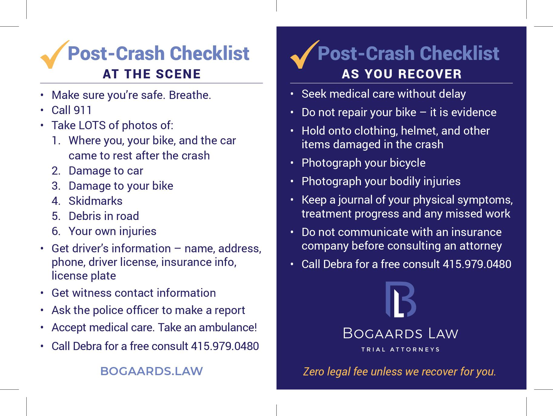 Post-Crash Checklist At the Scene by Bogaards Law