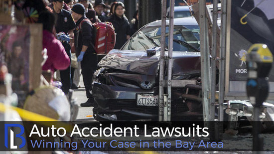 An image of a wrecked car with pedestrians looking at the scene. If you have been involved in an accident, contact the Bay Area auto accident lawyers for representation.