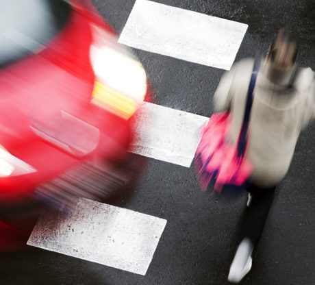 crosswalk of street city with people in dangerous situation, woman in need of a San Francisco Personal Injury Attorney after a pedestrian accident