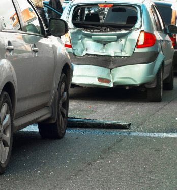 A car accident scene on a highway representing how a San Fransisco car accident lawyer can assist you with your case.